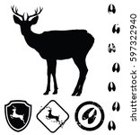 vector deer silhouette and