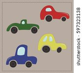 childrens colorful cartoon cars | Shutterstock .eps vector #597323138