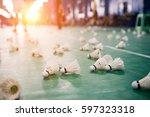 badminton   badminton courts... | Shutterstock . vector #597323318