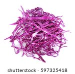 pile of cut red cabbage over... | Shutterstock . vector #597325418