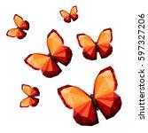 polygonal butterflies... | Shutterstock .eps vector #597327206