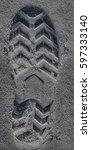 Footprint In Snow Sand