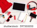 red headphones  cellphone and... | Shutterstock . vector #597333353