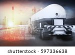 oil transport by truck | Shutterstock . vector #597336638