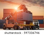 container loading to the truck... | Shutterstock . vector #597336746