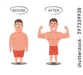 weight loss. fat vs slim....   Shutterstock .eps vector #597339938