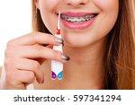 dentist and orthodontist... | Shutterstock . vector #597341294