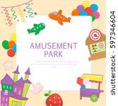 amusement park and playground... | Shutterstock .eps vector #597346604