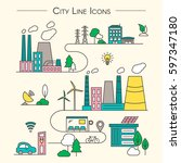 vector city illustration in... | Shutterstock .eps vector #597347180
