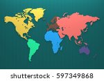 world map continent on the... | Shutterstock . vector #597349868