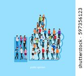 society isometric conceptual... | Shutterstock .eps vector #597356123