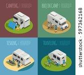 recreational vehicles concept... | Shutterstock .eps vector #597362168