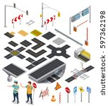 set of isometric icons showing ... | Shutterstock .eps vector #597362198
