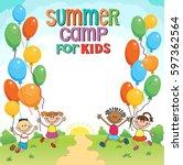 children are jumping ob summer... | Shutterstock .eps vector #597362564