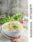 Instant Noodles In Bowl With...