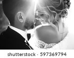young and beautiful bride and... | Shutterstock . vector #597369794