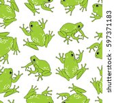 seamless pattern with frog. | Shutterstock .eps vector #597371183