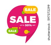 colorful speech bubble sale... | Shutterstock .eps vector #597372299