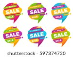 set of colorful speech bubble... | Shutterstock .eps vector #597374720