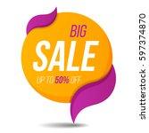 big sale label price tag banner ... | Shutterstock .eps vector #597374870
