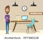 modern workplace. creative... | Shutterstock .eps vector #597380228