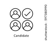 candidates vector line icon  | Shutterstock .eps vector #597380990
