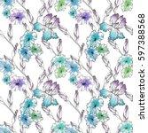 floral seamless pattern... | Shutterstock . vector #597388568