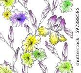 floral seamless pattern... | Shutterstock . vector #597388583
