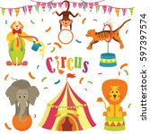 circus   vector clip art on... | Shutterstock .eps vector #597397574