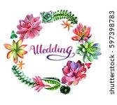 wildflower succulentus flower... | Shutterstock . vector #597398783