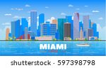 miami florida skyline with... | Shutterstock .eps vector #597398798