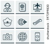 set of 9 travel icons. includes ... | Shutterstock .eps vector #597399830