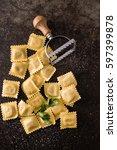 fresh ravioli | Shutterstock . vector #597399878