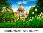 view of isaac cathedral in... | Shutterstock . vector #597400394
