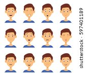 set of male emoji characters.... | Shutterstock .eps vector #597401189
