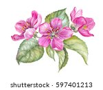 vintage garland of blooming... | Shutterstock . vector #597401213