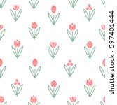 floral seamless pattern with... | Shutterstock .eps vector #597401444