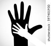 black color big hand and white... | Shutterstock . vector #597401930