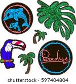 decorative fashion patch badges ...   Shutterstock .eps vector #597404804