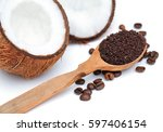 spa set coconut close up and... | Shutterstock . vector #597406154
