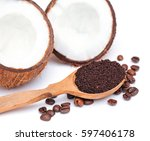 spa set coconut close up and... | Shutterstock . vector #597406178