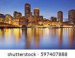 Stock photo the skyline of downtown boston massachusetts from across the water at dusk 597407888