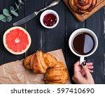 delicious breakfast on the... | Shutterstock . vector #597410690