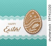 happy easter greeting card with ... | Shutterstock .eps vector #597411320