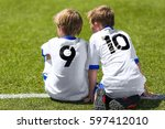 young soccer football players.... | Shutterstock . vector #597412010