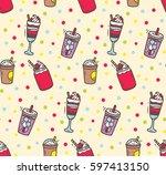 beverages doodle background | Shutterstock .eps vector #597413150