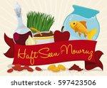 design for noruz with greeting... | Shutterstock .eps vector #597423506