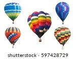 Hot Air Balloon On White...