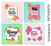 spring sale banner with... | Shutterstock .eps vector #597430070