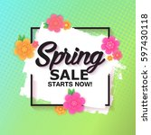 spring sale banner with... | Shutterstock .eps vector #597430118